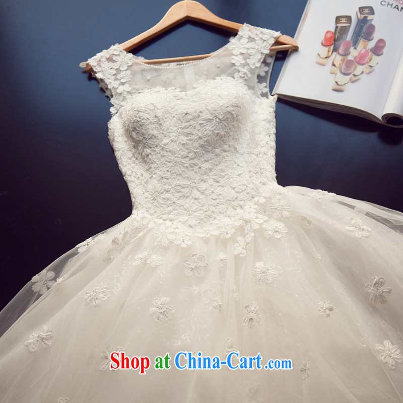 Yi love is wedding dresses 2015 new Korean brides field package shoulder lace spring and summer bridal lace Princess graphics thin beauty with shaggy dress girls white M