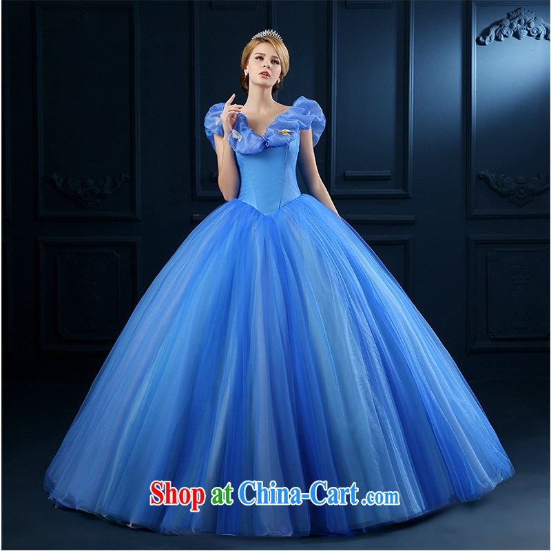 White first to about 2015 summer Cinderella new wedding dresses Princess skirt Blue video thin dress bridal wedding shaggy color yarn tail blue private custom exclusive advisory service