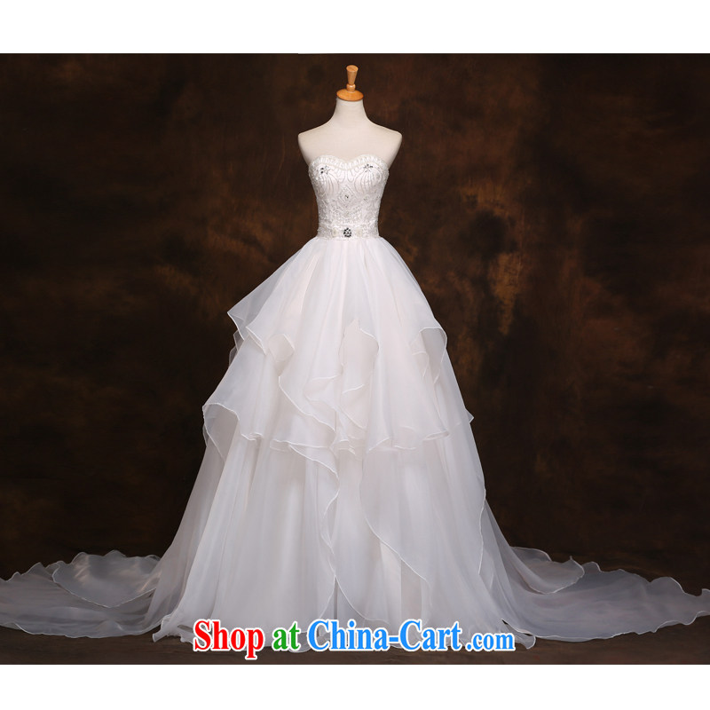 The beautiful yarn 2015 new Mary Magdalene, chest and tail wedding luxury purely manual sewing stylish beauty graphics thin binding with simple yet elegant shadow floor wedding dresses white customizable