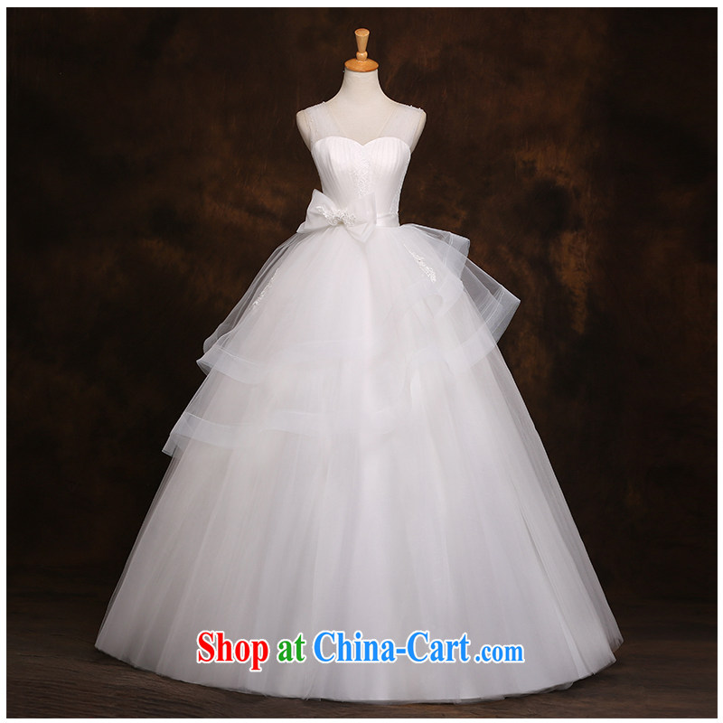 The beautiful yarn strap with lace with A swing wedding stylish and simple Korean Beauty tie features bow-tie 2015 new marriages wedding dresses white customizable