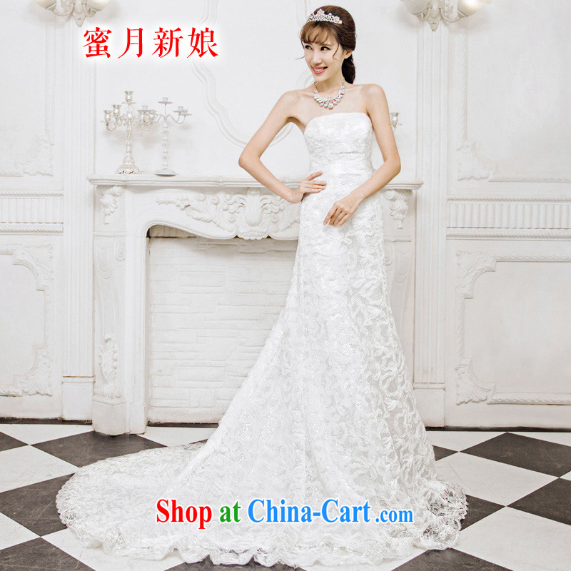 Honeymoon bridal 2015 new wedding dresses Korean Beauty crowsfoot wedding dream lace tail wedding white S