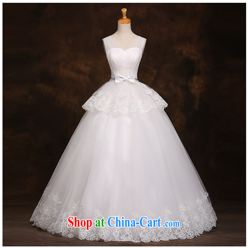 The beautiful yarn double-shoulder straps with wedding V collar A field with simple Korean code tie-bride wedding dress 2015 new product launches are code pieced white customizable
