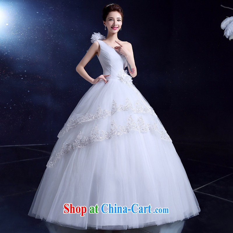 2015 summer wedding dresses bridal wedding dress with simplicity, the Code the shoulder hunsha flowers white 2XL