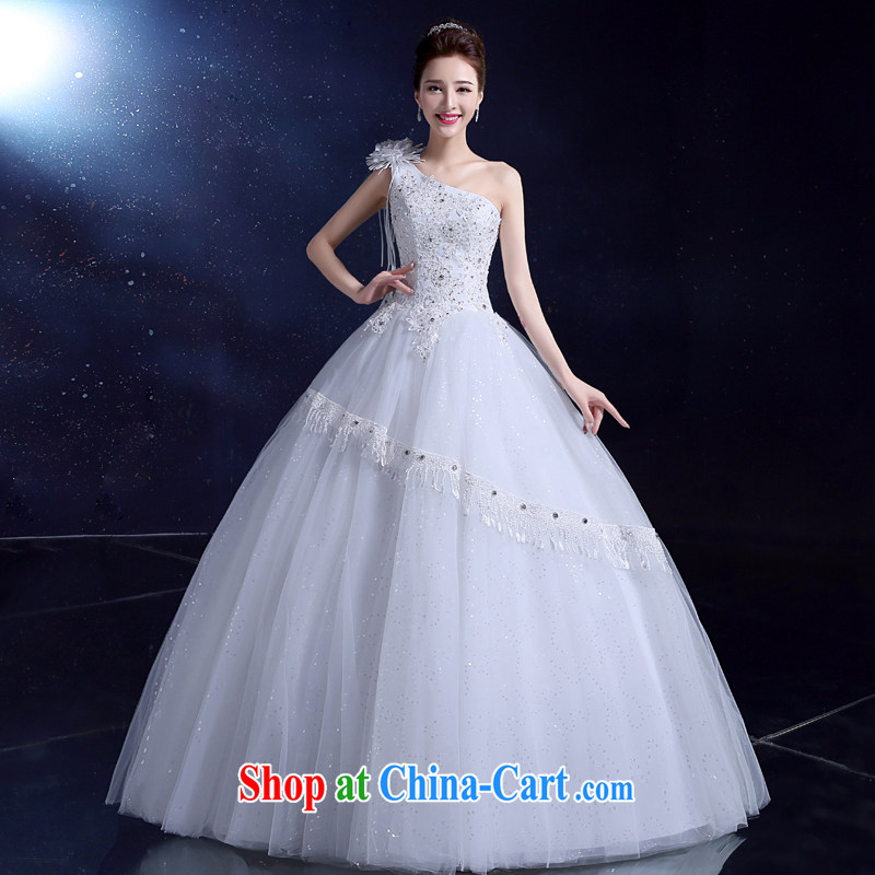 2015, Japan, and South Korea wedding dress new bride wedding dress toast summer serving with the Code the shoulder flowers parquet drill white 2XL