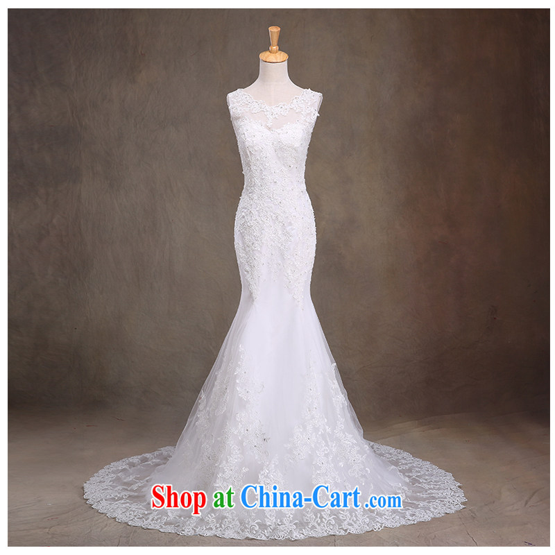 The beautiful yarn 2015 New-waist crowsfoot lace tied with a small tail Wedding Fashion beauty graphics thin straps back exposed round-collar wedding dresses factory direct white customizable