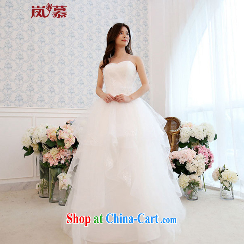 Sponsors The 2015 New Original Design wrapped chest Decals with shaggy dress bridal wedding dresses Home pure white XL _chest 95_waist 79_