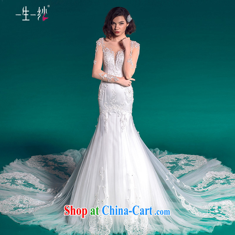 A yarn crowsfoot wedding tail 2015 summer long-sleeved wedding package shoulder affect theme wedding 50150007 white XXL code 30 days pre-sale