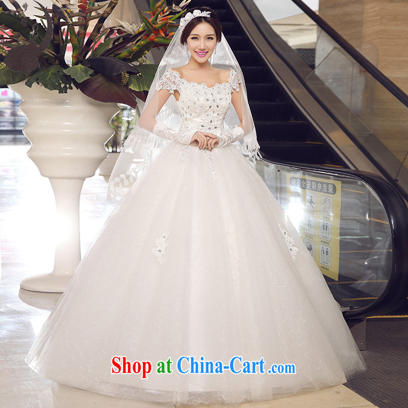 Let the day the bride with a shoulder, Japan, and South Korea wedding dress summer 2015 new white pre-sale 7 day shipping
