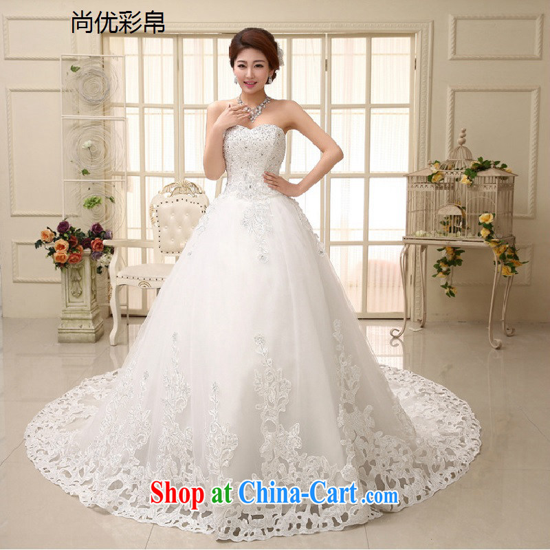 It is also optimized condolence new wedding dresses elegant terrace shoulder multi-level erase chest sweet arts Princess tail wedding XS1008M white XXL