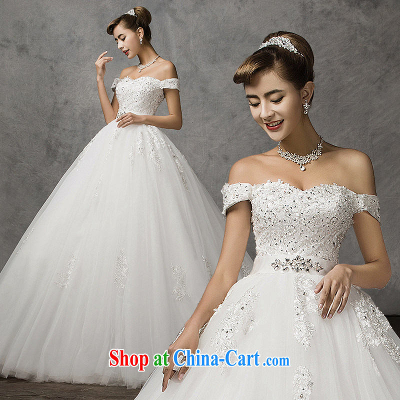 The drunken Yi Mei wedding dresses summer new 2015 bridal a shoulder with wedding romantic retro lace diamond luxury bridal wedding dresses white XL