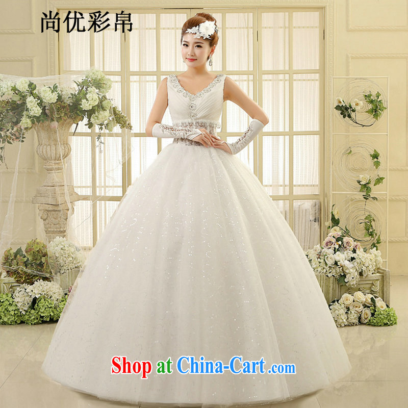 It is also optimized their wedding in Europe Openwork shoulders lace graphics thin-waist stylish new larger wedding XS1014m White XXL