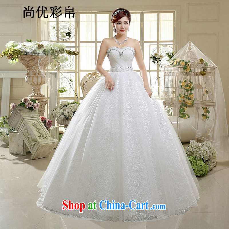 It is also optimized condolence new lace inserts drill wedding Mary Magdalene his chest and sweet shaggy skirts, lace wedding dresses XS 1016 m White XXL