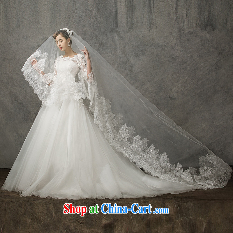 The drunken Yi Mei 2015 summer new high-gin, with marriage and yarn luxury French eyelashes lace and yarn long wedding dresses and brides and yarn white 175 cm above