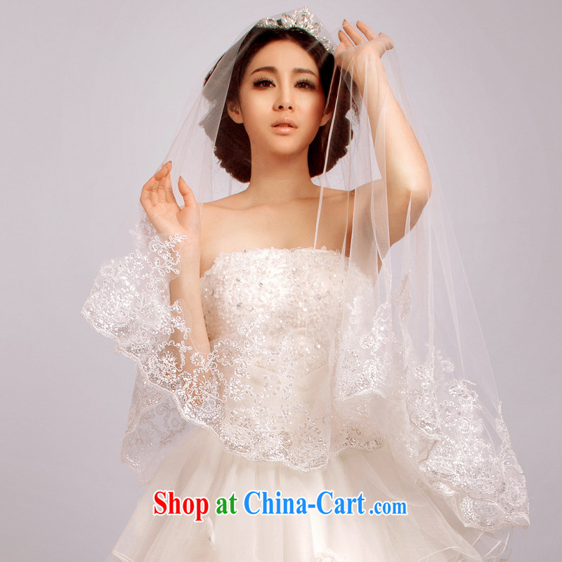 The drunken Yi Mei 2015 summer new brides and yarn, flash, the lace 3M retro head yarn new ultra long-tail wedding and yarn accessories white 175 cm above