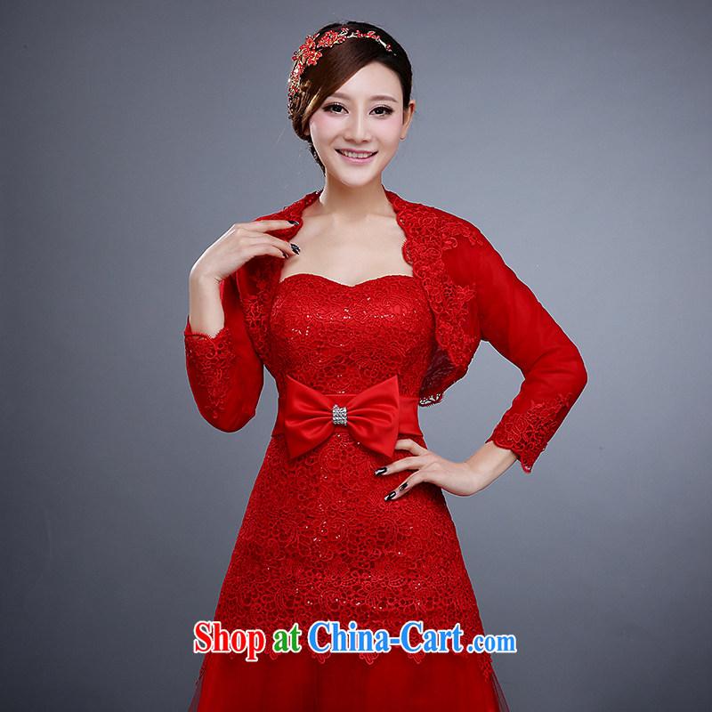 2015 new spring and summer wedding shawl bridal wedding dress, shawl bridal lace small jacket bridesmaid shawl red