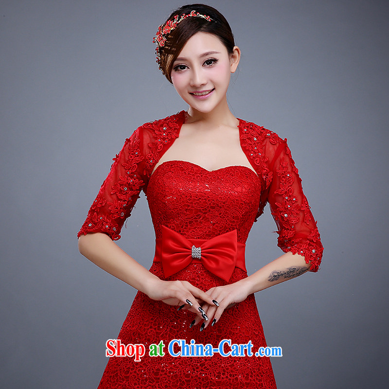 Summer new marriages lace shawl wedding dresses bridesmaid summer uniform white thin ice woven shawl female Red
