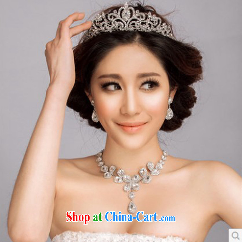 The drunken Yi Mei wedding accessories jewelry, verse. 2015 new head-dress wedding wedding accessories bridal jewelry set Crown set link 3 piece set necklace earrings