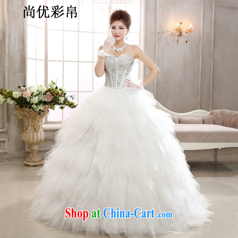 It is also optimized their wedding dresses new spring, Korean-style bride wiped his chest parquet drill Swan Ngai advisory graphics thin with Princess beauty wedding XS1020m White XXL