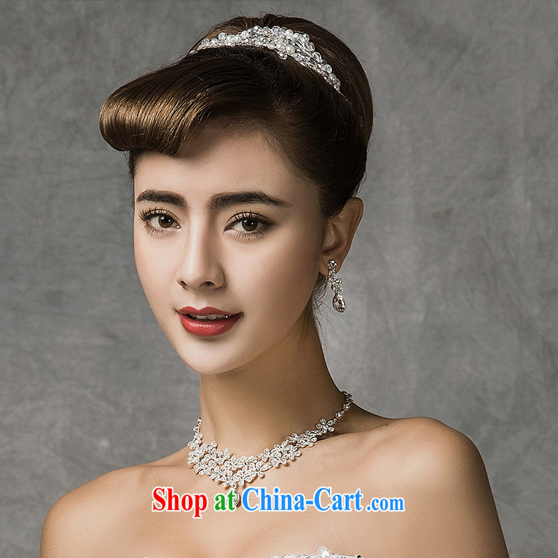 The drunk, the bridal headdress Crown necklace earrings 3-Piece Korean crystal hair accessories wedding jewelry jewelry sets summer 2015 new bridal tiaras Crown earrings necklace