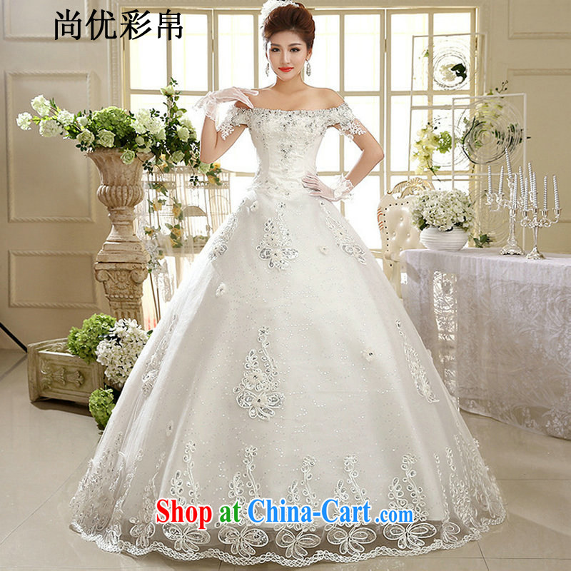 wedding dresses are optimized color Kingfisher new Korean version field shoulder diamonds, with graphics thin bridal wedding XS 1023 m White XXL