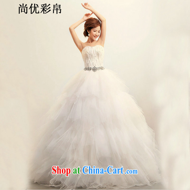 It is also optimized condolence new Korean Korean feather wiped his chest Princess bride marriage wedding dresses XS 1024 m White XXL
