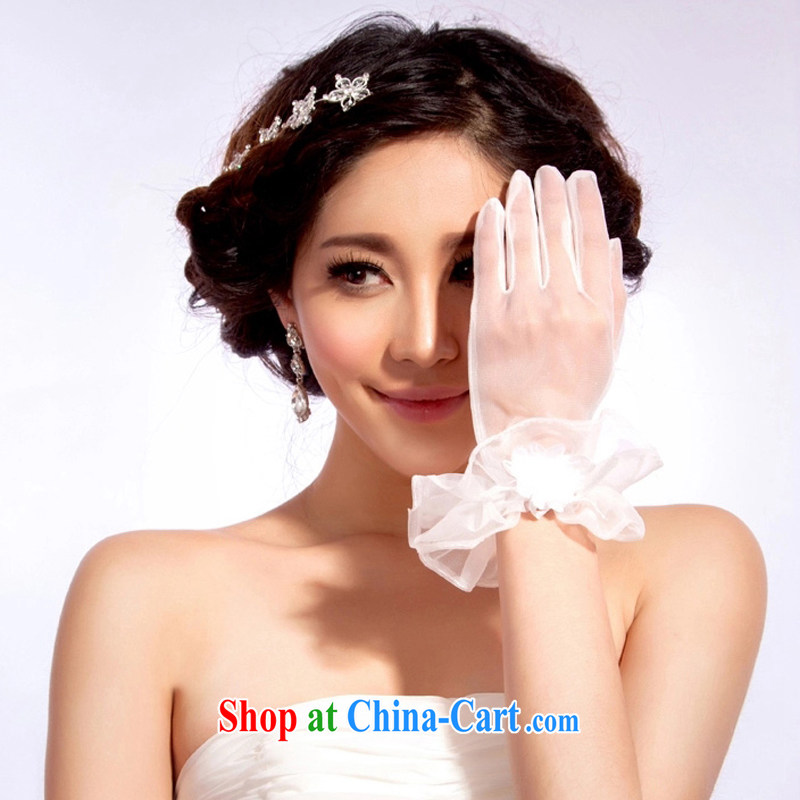 The drunken Yi Mei marriages, Short, Thin yarn lace lace gloves white transparent bridal gloves wedding gloves white