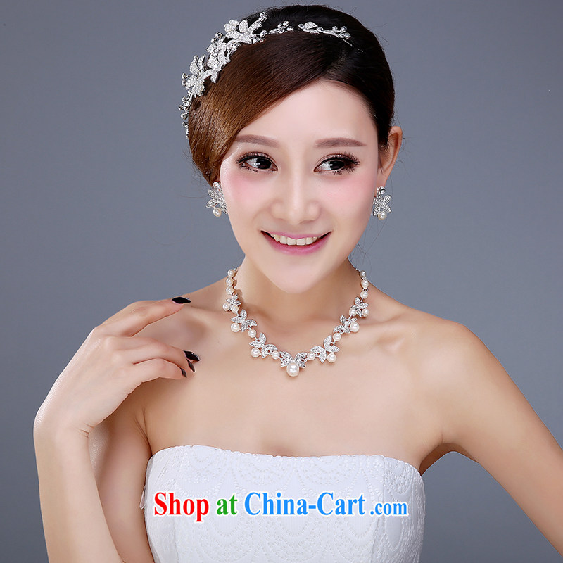 Bridal Crown 3-piece kit and Korean-style wedding dresses jewelry jewelry hair accessories necklaces earrings wedding accessories girls earrings necklace
