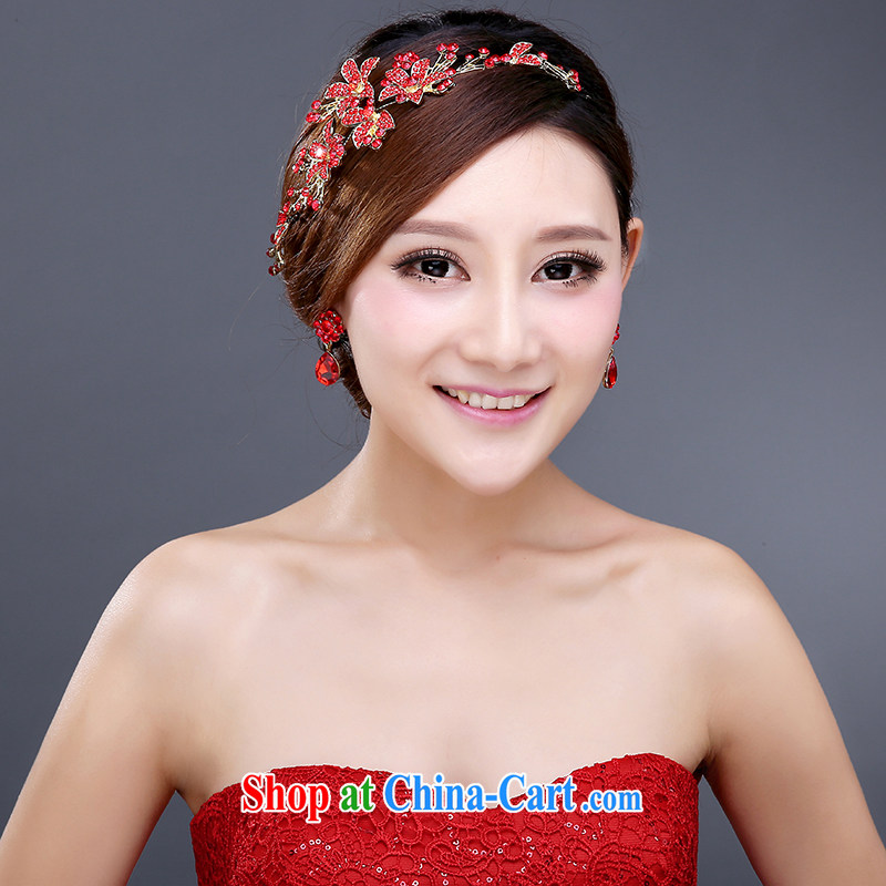wedding dresses bridal hair accessories and ornaments red wedding jewelry wedding and take Korean-style wedding accessories female hair accessories