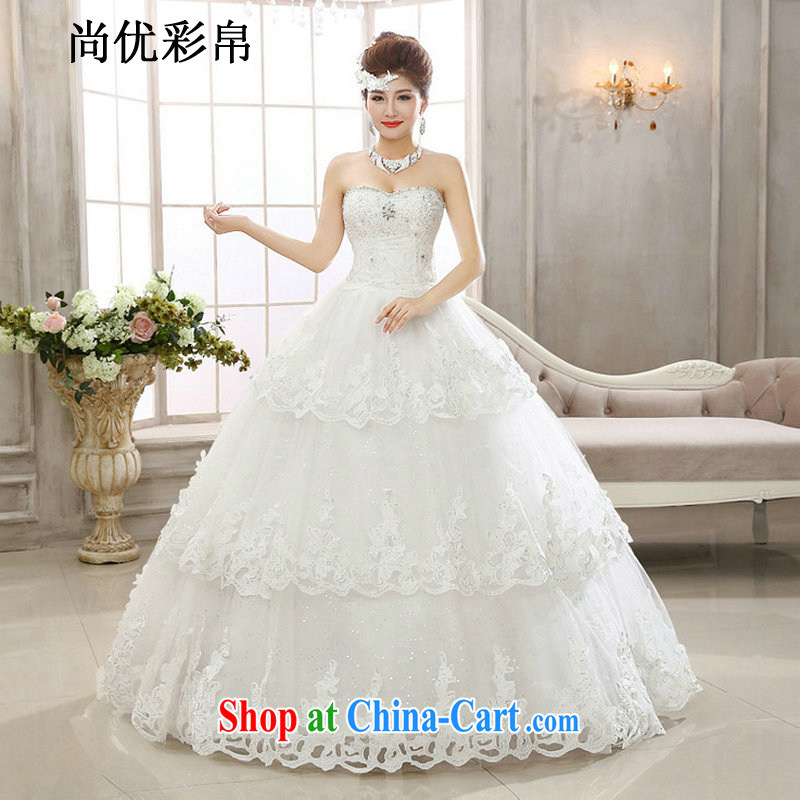 There are optimized color Kingfisher ultra-flash inserts drill cultivating graphics thin smears chest water drilling wedding dresses Korean continental Princess lace XS2032m White XXL