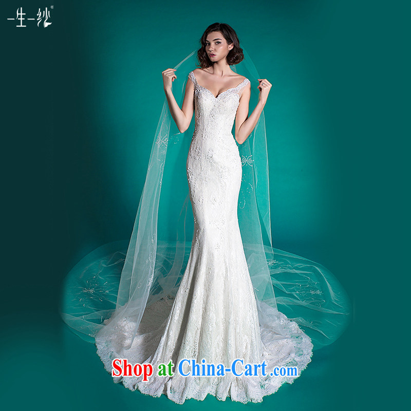 A yarn crowsfoot wedding tail wedding dresses spring 2015 Europe and America through lace wedding 401501388 white XXL code 30 days pre-sale