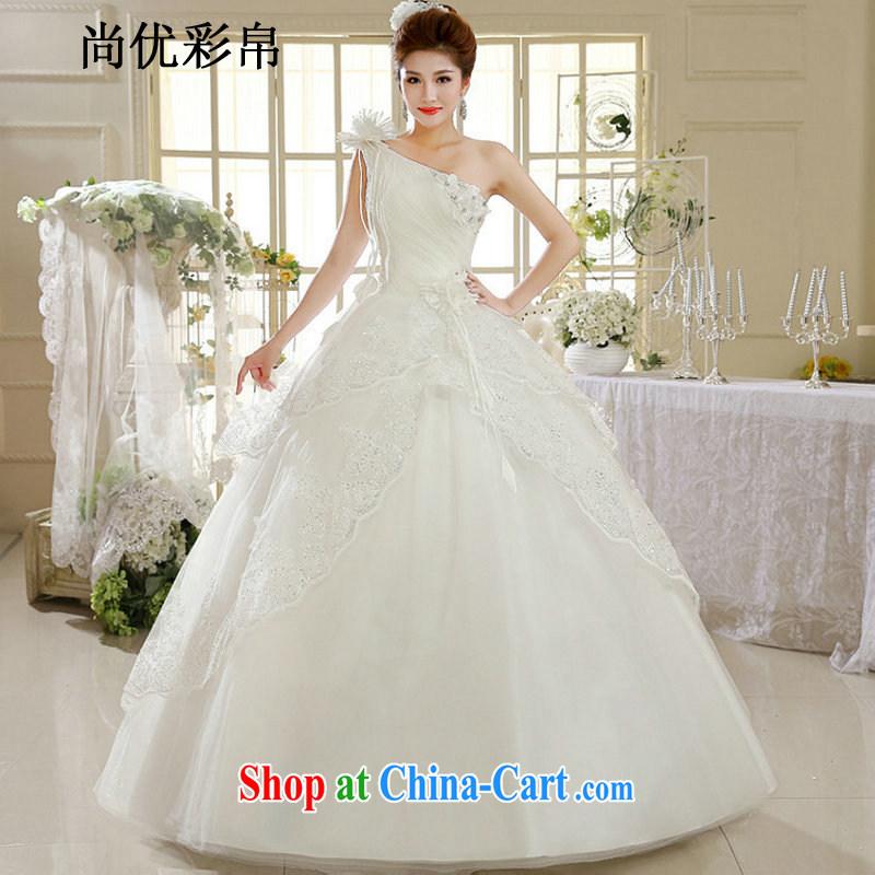 It is also optimized their wedding dresses new single shoulder white lace Korean style with retro spring wedding dress XS 1035 m White XXL