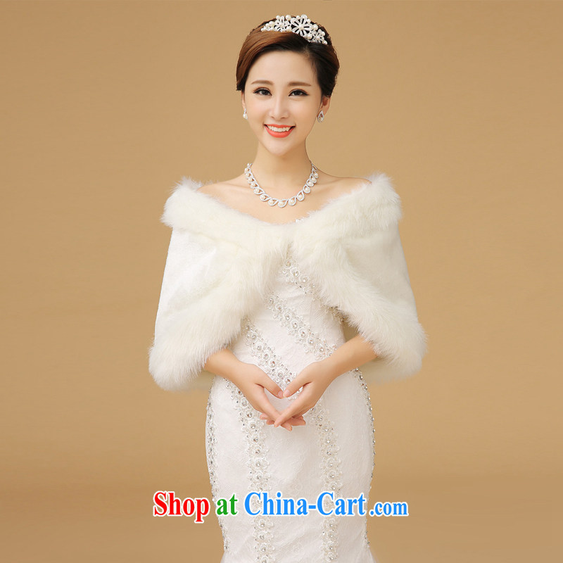 Up to Van Gogh's new winter thick bridal wedding shawl dress Warm rabbit hair edge shawl white the fur and the white shoulder width 36 - 43 CM