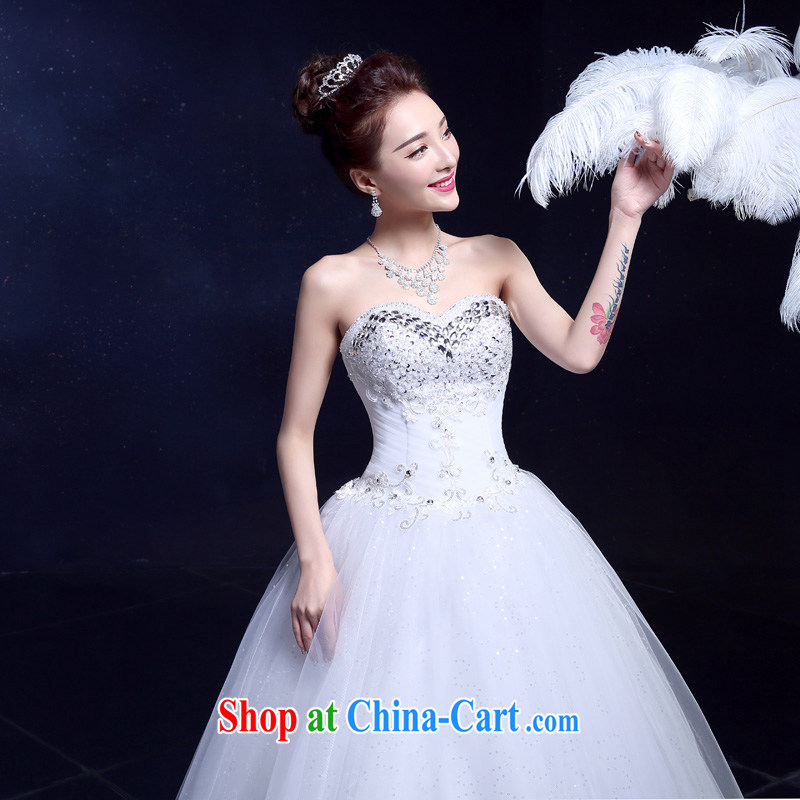 A service is a good wedding dresses new 2015 bride's bare chest wedding Korean Beauty graphics thin with parquet drill married Yi white XXL