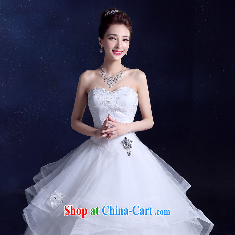 Serving a good solid bridal wedding dresses 2015 New Beauty bowtie inserts drill shaggy yarn Princess dress with skirt white XXL