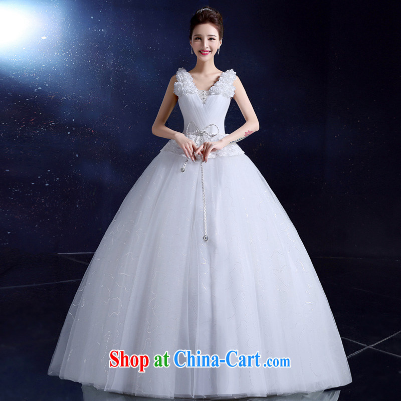 A service is a good wedding dresses 2015 new paragraph to align wedding double-shoulder Deep V collar Bow Tie Korean Beauty Chest bare white XXL