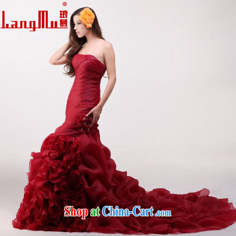 In Luang Prabang in 2015 the new bride's bare chest wedding tie-down Tail-waist graphics thin crowsfoot wedding custom wine red advanced customization, Luang Prabang, and shopping on the Internet