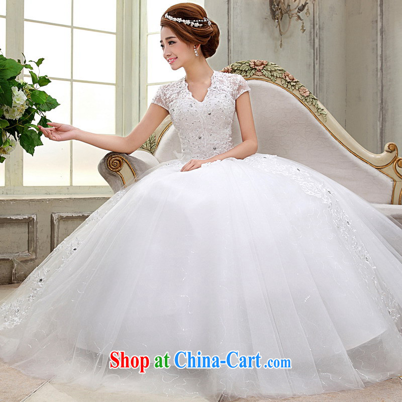 Mrs Alexa Lam unpunished New Field shoulder wedding dresses Korean short-sleeved shaggy dress graphics thin package shoulder bridal married Yi 66,682 white XL