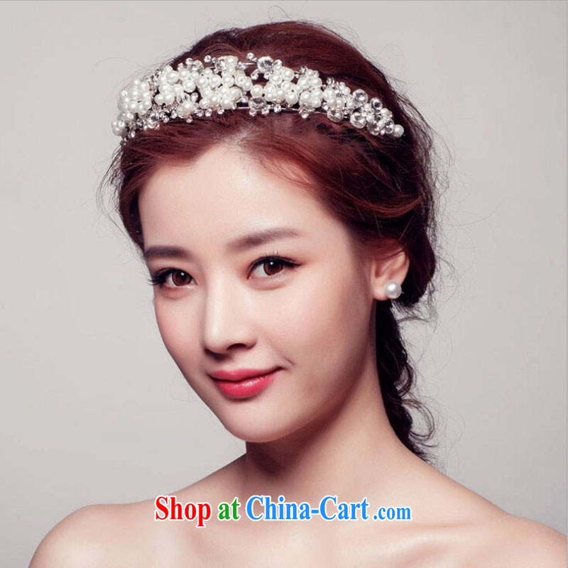 2015 bridal wedding dresses with Korean-style bridal Pearl water drilling Crown headdress bridal jewelry and ornaments wedding dresses accessories white