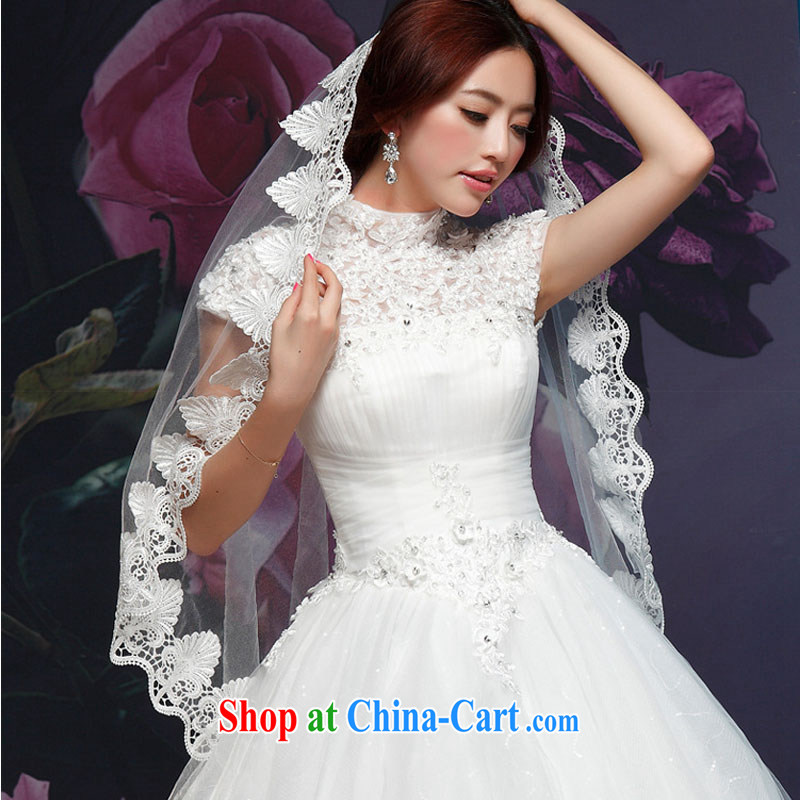 Korean edition 2015 new large package shoulder flowers water drilling Princess lace graphics thin smears chest long-tail tied with a bright diamond sexy wedding dresses marriage romantic married Yi white XXL