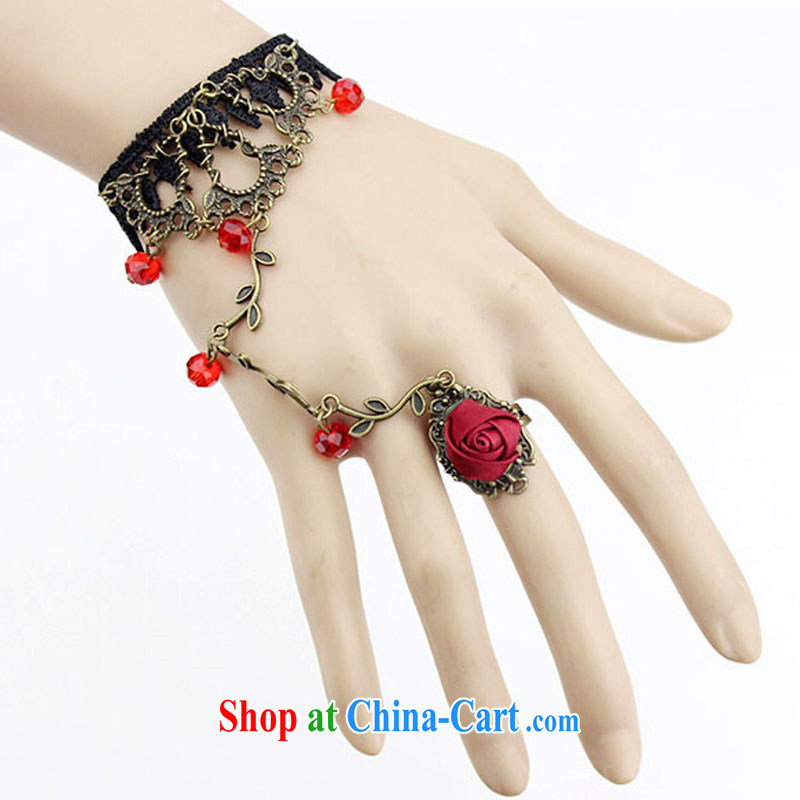 2015 bridal wedding dresses with European-style palace original retro red lace bracelet with rings bridal gothic style jewelry jewelry women to link Black crystal, code, east, Texaco Road (DonqeGoodal), shopping on the Internet