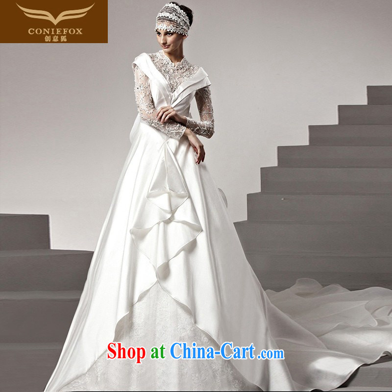 Creative Fox high-end custom wedding dresses 2015 new stylish lace long-sleeved wedding dresses High-tail wedding white wedding 90,198 white tailored