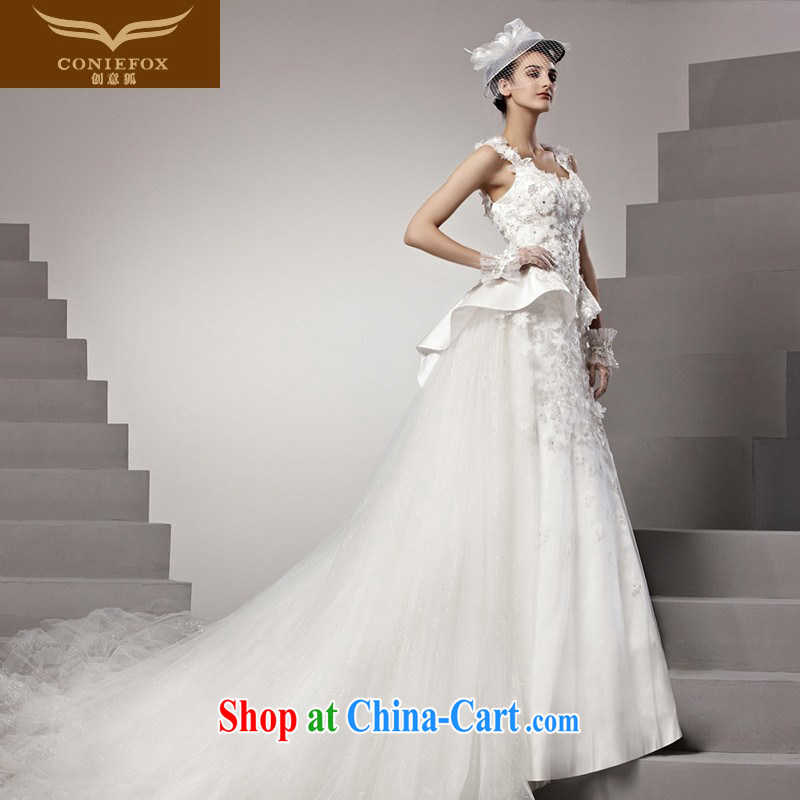 Creative Fox high-end custom wedding dresses 2015 new lace shoulders wedding marriage tail wedding elegant Princess wedding 90,158 white tailored