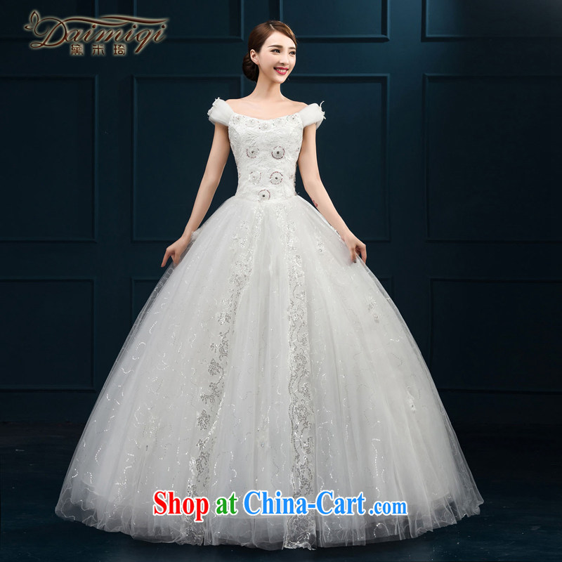 2015 wedding dresses new brides field shoulder lace luxury jewelry Korean version with shaggy yarn white M