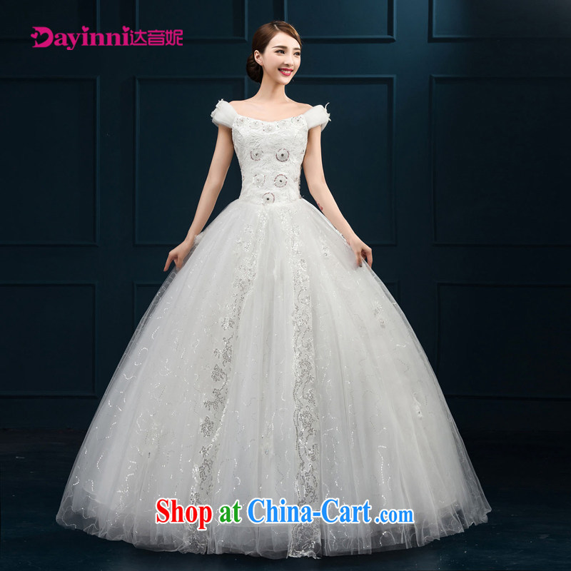 2015 wedding dresses new brides field shoulder lace luxury jewelry Korean version with shaggy yarn white S