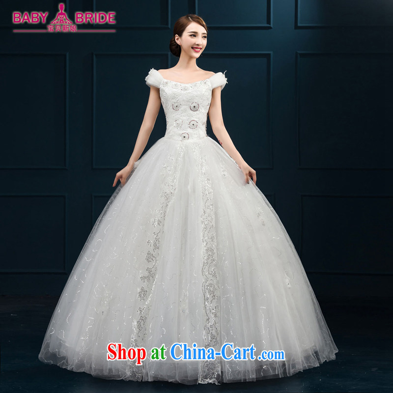 2015 wedding dresses new brides field shoulder lace luxury jewelry Korean version with shaggy yarn white L