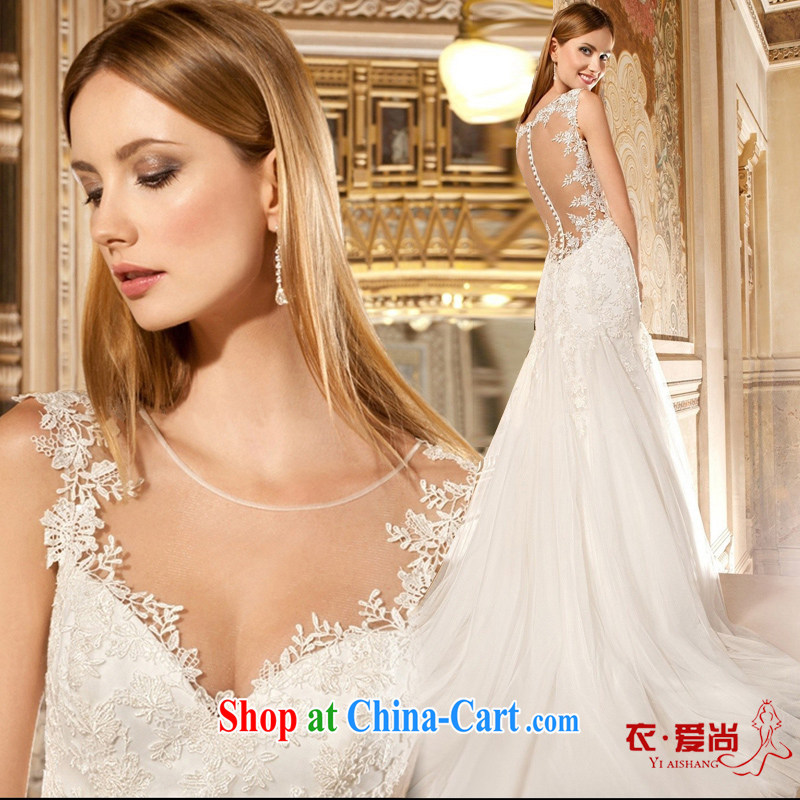 Yi love is wedding dresses 2015 spring and summer new sexy lace shoulders wedding tail Deep V Korean version of the greater code lace custom bridal wedding dresses female white to make the $30 does not return