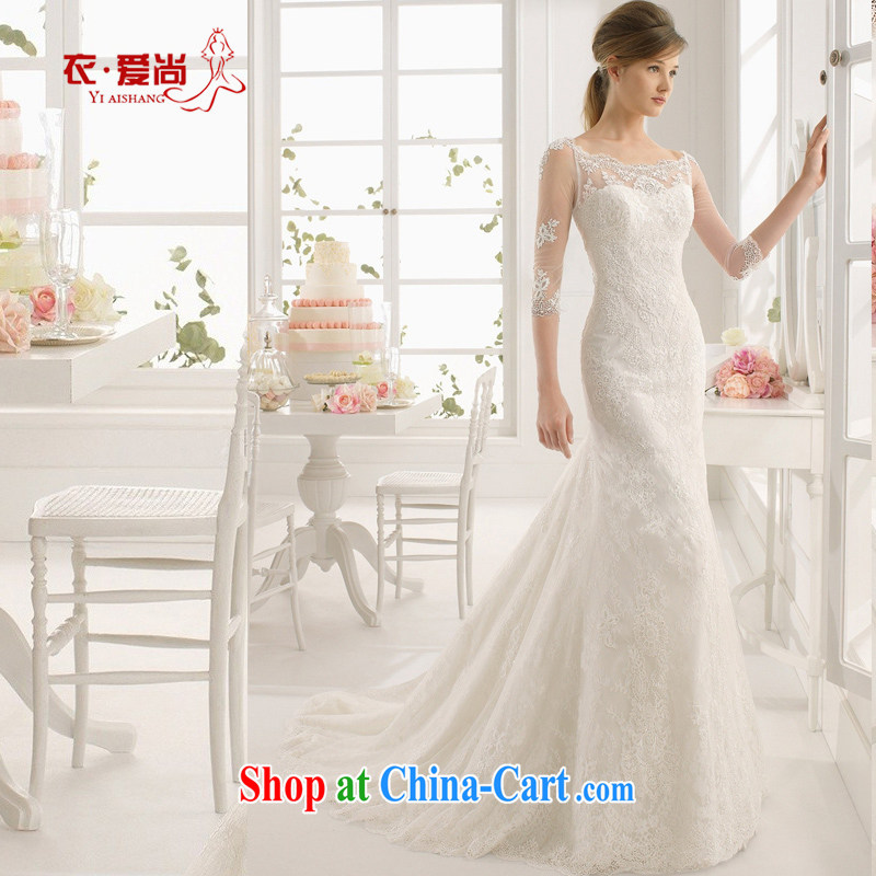 Marriage wedding dresses 2015 new spring and summer bridal shoulders high lace Princess graphics thin large code-tail with white to make the _30 does not return