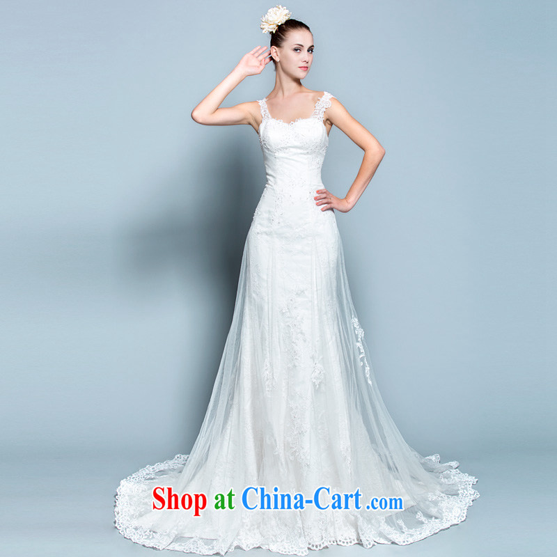 2015 new lace shoulders bare chest wedding wood drill tail wedding dresses at Merlion video thin removable shoulder strap 30150795 white L stock code 165 /88 A