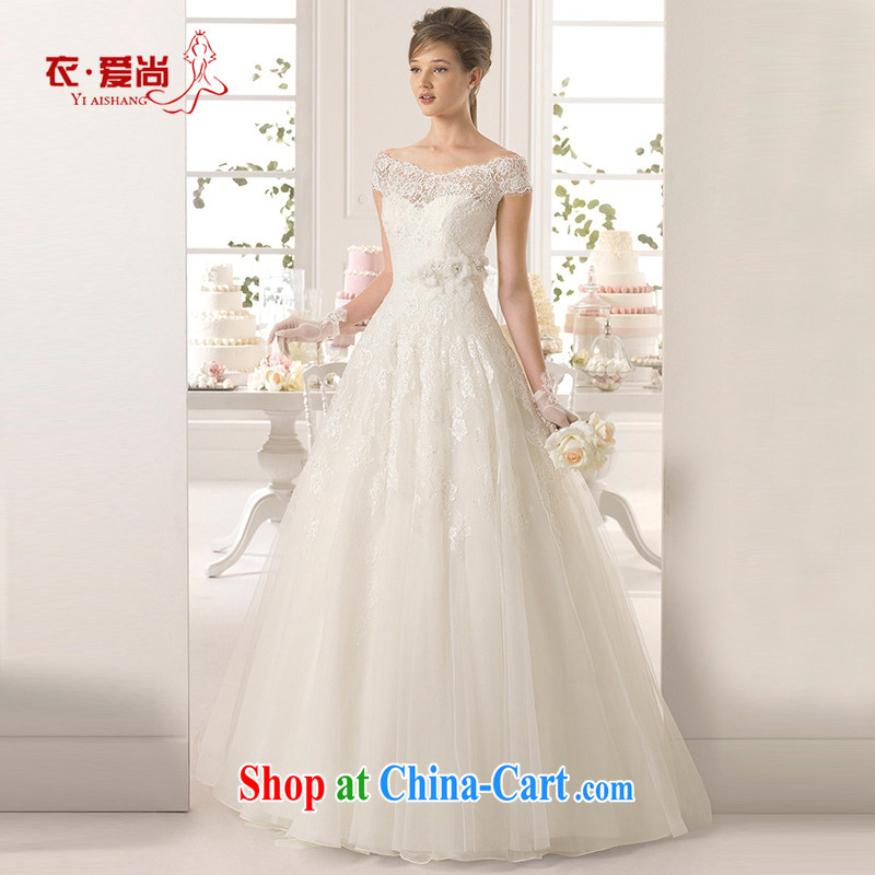 Korean double-shoulder video thin bridal wedding dresses white lace the Field shoulder white long-tail 2015 Spring Summer and Autumn white to make the $30 does not return