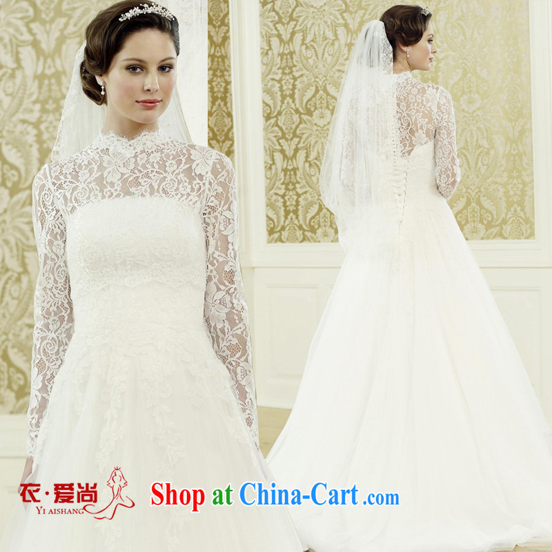 wedding dresses spring 2015 new Korean version simple double-shoulder-tail graphics thin bride married a field shoulder wedding dresses white can make the _30 not return